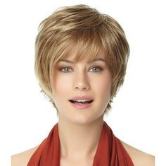 Felicity -  Reflecting a current salon haircutting trend, this asymmetrical, short shag includes flipped layered ends in the back. Find this style & more @ thewigcompany.com
