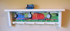 Shelf Childs Room Thomas The Train Rack Furniture Wood Peg Rack Hat Rack Coat…