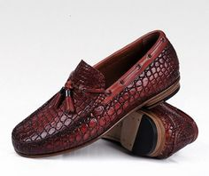 Handcrafted Men s Alligator Classic Tassel Loafer Leather Lined  Shoes-Cognac-1 Chaussures Hommes, 655a9a291393