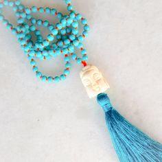 Buddha tassel necklace with turquoise by ChristinaBbracelets