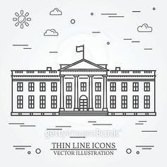 Vector thin line icon White house