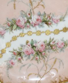 Antique French Limoges Pink Roses Plate