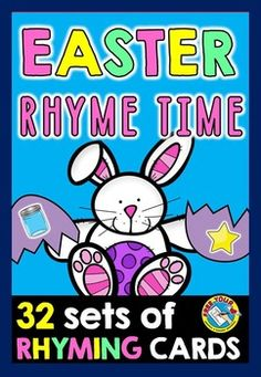 #EASTER #RHYMING #WORDS: #RHYME #TIME EASTER #EGG #MATCH #UP  Do you want to practice rhyming words (pictures) in an interactive and fun way? This resource is just for you! These 32 egg-shaped cards are just what you need! Great for #Literacy #centers and home-schooling!   Children have to match up the cracked eggs depicting pictures with rhyming sounds to make up whole eggs.