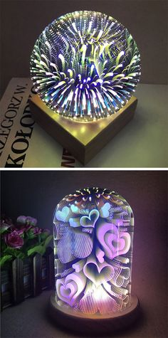 home decor ideas for bedroom:3D Colourful Glass Shade Hearts Night Light