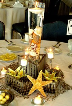 @Classy Covers has centerpieces, too! Check out the beach themed ones!