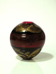 'Shikki', 2013.  Hand blown glass, gold leaf. Engraved.