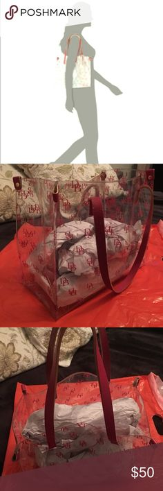 """Red/Clear """"shopper"""" EUC no tears, scratches.   Kept with tissue to provide support and maintain shape. Dooney & Bourke Bags Totes"""