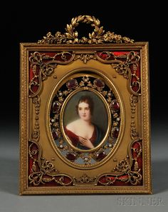 Framed Oval Portrait Miniature on Ivory, France, 19th century, depicting a dark-haired woman in a red gown and blue cloak, unsigned, in a Stern Brothers, New York, reticulated gilt-bronze, basse taille enamel, and paste-set frame, portrait backed by a faux tortoiseshell medallion.