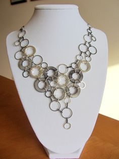 Circles Statement Necklace with matching earrings  by amykalbster, $75.00