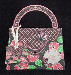 Pink Hibiscus Handbag Place Names or Gift Cards  on Craftsuprint designed by Sandie Burchell - made by Joan King - I love these miniature bags. I found for me they make wonderful gift tags to match the main handbag cards. Plenty of room to right your greetings inside and I attached it with ribbon to the handle. Fantastic to have in your craft stash and can be used for heaps of different things. - Now available for download!