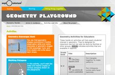 """Geometry activities for educators includes lessons and materials,  explores shapes (with blocks, string, and on the playground, 2-D, 3-D), symmetry, tesselations, measuring angles and perimeter, """"traveling networks"""" (Geometry Playground, by the National Science Foundation, Exploratorium; K-5?? (in English and Spanish"""
