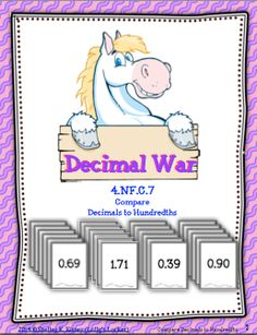 $Comparing decimals is more fun with Decimal War. This set of 26 decimal cards is played like a game of war.  Students compare decimals to hundredths as they enjoy a fast paced game.  Duplicate on card stock or laminate for extra durability.  Decimal War is also a great addition to a math center.  Your students will enjoy this activity as much as mine do!  Common Core: 4.NF.C.7   Enjoy! -shelley :)