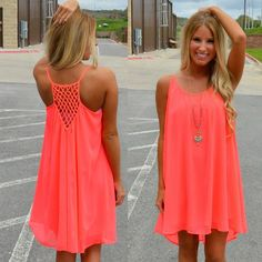 HOT HOT HOT Cool Chiffon Summer Dress in 3 Neon Color Options PLUS SIZE AVAILABLE