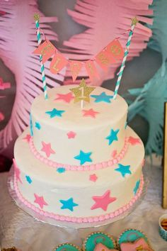 Pink and blue cake at a Twinkle Twinkle Little Star birthday party! See more party ideas at CatchMyParty.com!