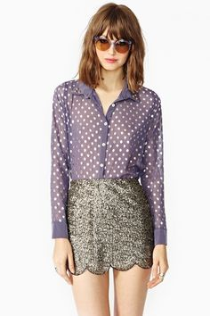 What A Stud! 12 Spiked Pieces To Grab For Spring #refinery29  http://www.refinery29.com/studded-fashion#slide-11  Nasty Gal Dotted Stud Blouse, $14.50, available at Nasty Gal.