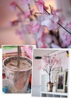 Diy Cherry Blossoms trees...perfect for a Japanese party or wedding.. I'm thinking to line the walkway.. Or just use as decor..