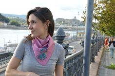 Woman silk shawl - kerchief - scarf - cotton-silk - hand embroidered - matyo - hungarian gift - turkuoise, mauve by MatyoKid on Etsy