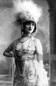 Portrait of French actress Gaby Deslys wearing feather headdress