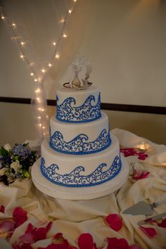 I really like this one since it is classy and fits a Wedding beach/surfing themed wedding !cake with ocean wave design