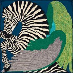 La Maison des Carrés Hermès   Zebra Pegasus Foulard Carré, Maison Hermes,  Cachemire, 8f8c43fe3a9