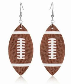 Football Leather fishhook earrings - Sports - Earrings for women - Touchdown - NFL - College football - show your spirit by SCSassySouthernBelle on Etsy Bff Gifts, Grad Gifts, Teacher Gifts, Monogram Earrings, Monogram Jewelry, Personalized Jewelry, Fish Hook Earrings, Women's Earrings, Star Nail Art