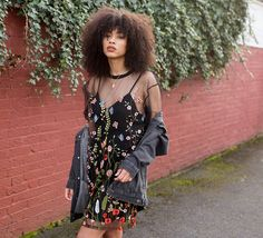 This Is The Dress You Should Be Wearing To A Summer Wedding - $50 - $150 Cute Summer Spring Black Mesh Sheer Lined Mini Dress With Multicoloured Floral Patterning Detail