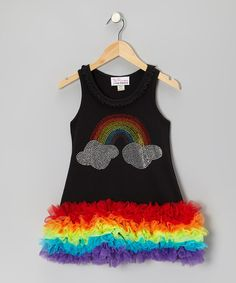 Take a look at this Black Rainbow Rhinestone Ruffle Dress - Infant, Toddler & Girls by Girly Flair on today! Rainbow Birthday Party, 5th Birthday, Birthday Ideas, Ruffle Dress, Dress Up, Kid Swag, Infant Toddler, Toddler Girls, Sewing For Kids