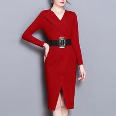 V-Neck Plain Bodycon Dress Casual Dresses, Casual Outfits, Dresses For Work, Formal Dresses, Cute Sweater Outfits, Cute Sweaters, Sewing Clothes, Bodycon Dress, Clothes For Women
