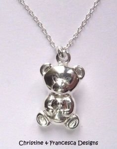 """Beautiful ♥ .925 Sterling Silver TEDDY BEAR Child Boy Girl Baby Newborn Pendant Chain Necklace ~ 16"""" inch or 18"""" inch length chain + Gift Box & Organza Gift Bag ~ by Christine & Francesca Designs ---- #sterling #silver #gift #birthday #pendant #present #gift for her #necklace #chain #chains #pendants #necklaces #baby #newborn #boy #boys #girl #girls #teddy #bear #child #childs"""