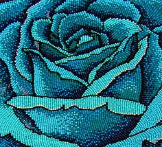 Detail of a Flat Beaded Blue Rose ___ Bead Embroidery ___ Wow - Wonderful Color Loom Patterns, Beading Patterns, Stitch Patterns, Native Beadwork, Native American Beadwork, Textiles, Seed Bead Art, Tambour Embroidery, Beads Pictures