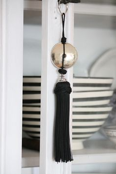 Moroccan black tassel around - HOUSE of IDEAS Oriental accessories and Polish Pottery