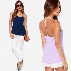 FanShou frete grátis 2014 Primavera Verão blusas Alças de alcinhas Backless Chiffon Transparente camisas XXL 6170