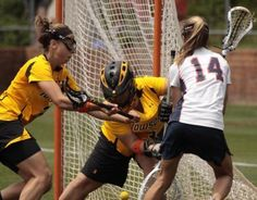 As in other sports, lacrosse goalies are the last lines of defense. As a lacrosse goalie you'll defend a six-foot square net with your body, your stick and the skills you learn in games and . Lacrosse Quotes, Lacrosse Gear, Girls Lacrosse, Field Hockey Goalie, Goalie Gear, Lacrosse Backpacks, Lacrosse Sticks, Games For Girls, Drills