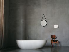 En suite polished plaster walls- this is my vision for the bath setting ( plus chandelier of course) Polished Plaster, Polished Concrete, Concrete Bathroom, Bathroom Flooring, Concrete Walls, Basement Bathroom, Bad Inspiration, Bathroom Inspiration, Interior Exterior