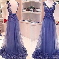 Lace V Neck Long Chiffon Prom Dress Backless Evening Dresses Tulle Party Dress Formal Dress