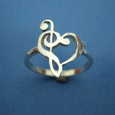 Music Love Heart Ring - Treble Clef Bass Clef Ring :)wonder if this can me made small for the clasp of a nose stud.