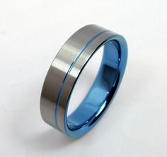 Sky blue and satin. titanium band. with sky blue by ZoeAndDoyle