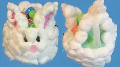 Fluffy Bunny Easter Basket. Recycle a milk carton. Use Elmer's Glue All for the cotton balls. Very cute and easy for kids to craft.