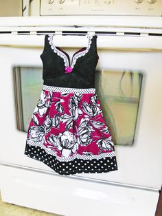 Kitchen Dish Towel Oven Door Dress in Black Pink by WoopsaDaisies, $25.00