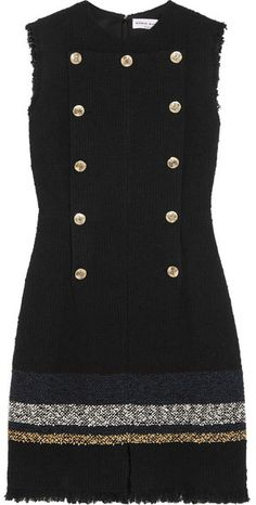 Sonia Rykiel - Button-embellished Bouclé-tweed Mini Dress - Navy