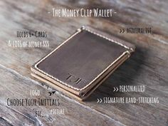 This listing is for one Leather Money Clip Wallet.  Personalization is also available.  Its made from distressed leather.  ————————————————————— [ PRODUCT FEATURES ] —————————————————————  ✦ Our signature hand-stitching ✦ Closed dimensions 4.75 by 3.25 ✦ Distressed leather (see below for complete details) ✦ Credit card pockets on both sides.  This money clip is meant to be minimalist. We kept it thin as possible.  *** 75mm is the widest note it can hold.  ————————————————————— […