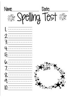 Fern's Freebie Friday ~ School Themed Blank Spelling Test