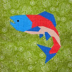 Wild Salmon Paper pieced quilt block pattern PDF by BubbleStitch, $2.90
