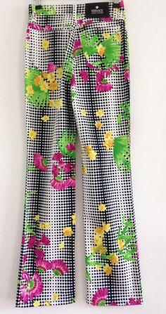 1990s 90s Vintage Fashion / Versace Jeans / Printed Floral Unique Pattern / Designer Vintage Pants / Size 27  #vintageversace #vintage #versace #90s #1990s #jeans