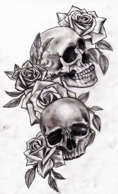 Skulls and roses tattoo design