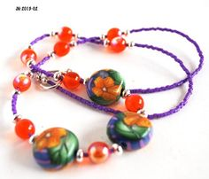 Orange Flower Necklace with Purple Delica Beads and Silver Spacers  | bluemorningexpressions - Jewelry on ArtFire