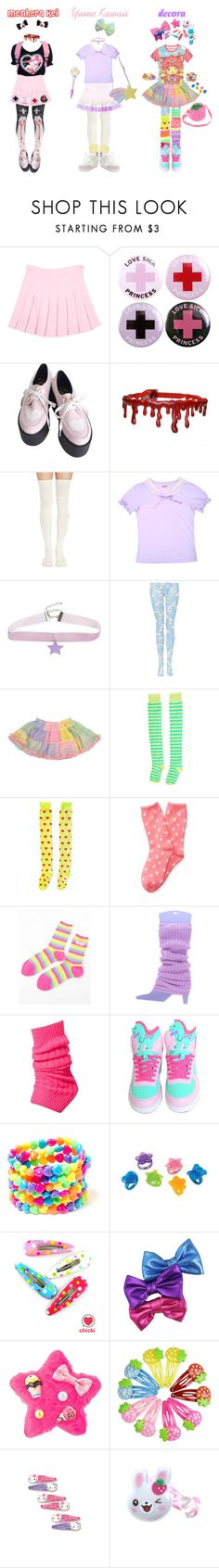 """""""Fashion Styles: Menhera Kei ♥ Yume Kawaii ♥ Decora"""" by scoutvenus ❤ liked on Polyvore featuring Meadham Kirchhoff, Hot Topic, Galaxxxy, Aéropostale, Clips, Fit-to-Kill and claire's"""