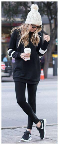 Outfits con Leggins – Moda y Estilo Casual Winter Outfits, Winter Outfits 2019, Oufits Casual, Winter Fashion Outfits, Chic Outfits, Sport Outfits, Outfit Winter, Comfy Casual, Fall Outfits