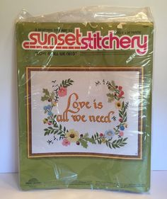 Sunset Beginning Stitchery Kit Love Is All We Need Embroidery 2650 Flowers New | eBay