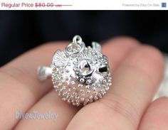EOFY SALE Sterling Silver Puffer Fish Pendant Necklace on Etsy, $73.60